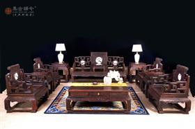 中号卷书沙发(黑料托尼/镶玉石)